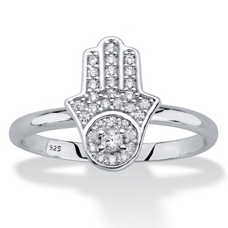 Round Cubic Zirconia .925 Sterling Silver Protective Hamsa Ring (.19 TCW) at PalmBeach Jewelry