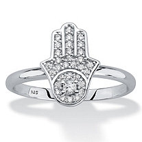 Round Cubic Zirconia .925 Sterling Silver Protective Hamsa Ring (.19 TCW)