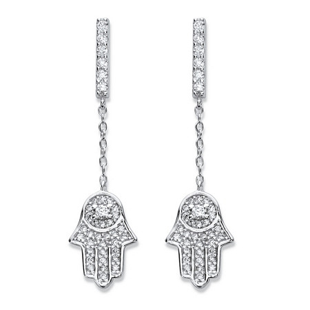 Round Cubic Zirconia .925 Sterling Silver Protective Hamsa Earrings 1 3/8
