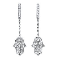 "Round Cubic Zirconia .925 Sterling Silver Protective Hamsa Earrings 1 3/8"" (.56 TCW)"