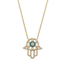 Cubic Zirconia and Turquoise Crystal Protective Hamsa Necklace in 14k Gold over Sterling Silver 18""