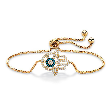 Cubic Zirconia and Crystal Hamsa Slider Bracelet in 14k Gold Plated over Sterling Silver 9.25