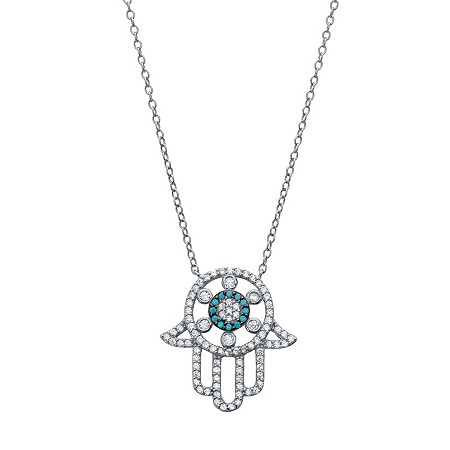 White Cubic Zirconia and Blue Crystal Protective Hamsa Necklace in Sterling Silver 18