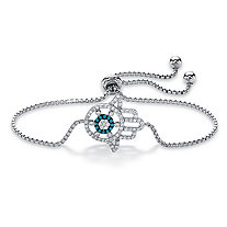 "Cubic Zirconia and Blue Glass Hamsa Slider Bracelet in Sterling Silver 9.25"" (.36 TCW)"