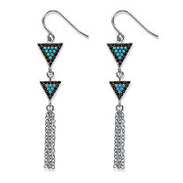 "Black Cubic Zirconia and Blue Crystal Triangle Fringe Drop Earrings in Silvertone 2 1/8"" (.33 TCW)"
