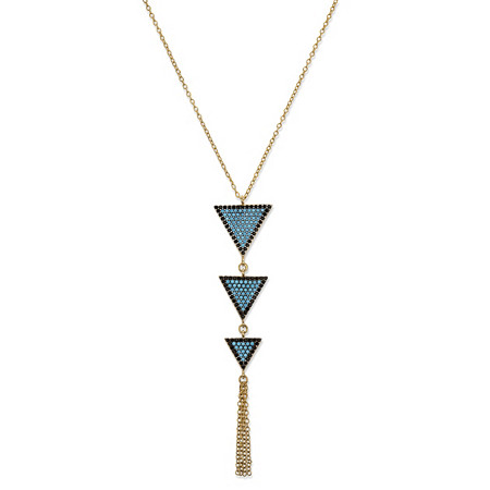 Cubic Zirconia and Crystal Triangle Fringe Necklace in 14k Gold over Sterling Silver 18