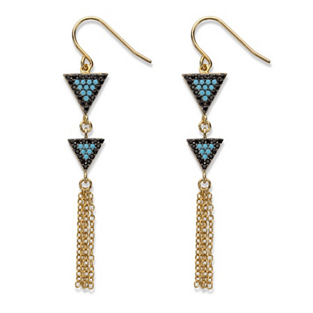 "Black Cubic Zirconia and Blue Crystal Triangle Fringe Drop Earrings 14k Gold-Plated 2 1/8"" (.33 TCW) at PalmBeach Jewelry"