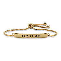 """Let It Go"" Plaque Drawstring Slider Bracelet 14k Yellow Gold-Plated 10"""