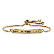 """Follow Your Heart"" Plaque Drawstring Slider Bracelet 14k Yellow Gold-Plated 10"""