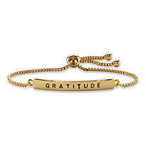 """Gratitude"" Plaque Drawstring Slider Bracelet 14k Yellow Gold-Plated 10"""