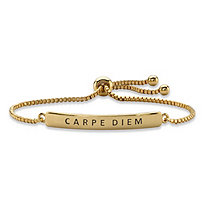 """Carpe Diem"" Plaque Drawstring Slider Bracelet 14k Yellow Gold-Plated 10"""