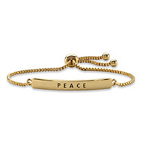 """Peace"" Plaque Drawstring Slider Bracelet 14k Yellow Gold-Plated 10"""