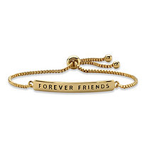 """Forever Friends"" Plaque Drawstring Slider Bracelet 14k Yellow Gold-Plated 10"""