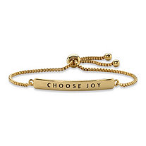 """Choose Joy"" Plaque Drawstring Slider Bracelet 14k Yellow Gold-Plated 10"""