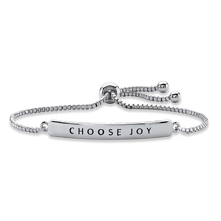 """Choose Joy"" Plaque Drawstring Slider Bracelet in Silvertone 10"" at PalmBeach Jewelry"