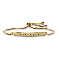 """Fearless"" Plaque Drawstring Slider Bracelet 14k Yellow Gold-Plated 10"""
