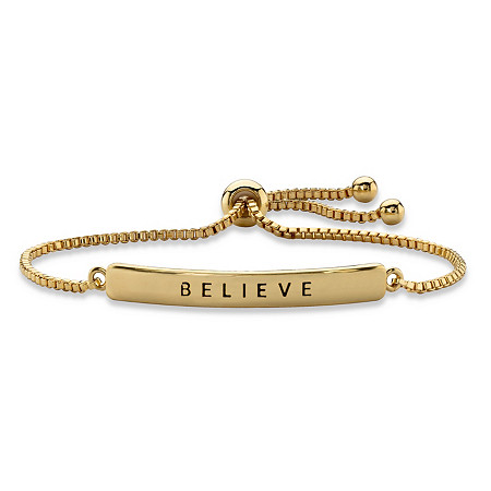 """Believe"" Plaque Drawstring Slider Bracelet 14k Yellow Gold-Plated 10"" at PalmBeach Jewelry"