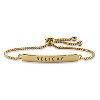 """Believe"" Plaque Drawstring Slider Bracelet 14k Yellow Gold-Plated 10"""