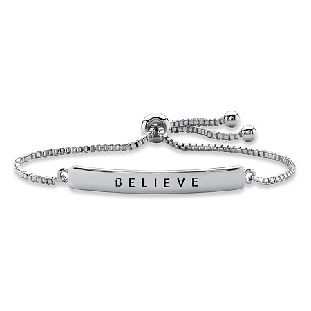 """Believe"" Plaque Drawstring Slider Bracelet in Silvertone 10"" at PalmBeach Jewelry"