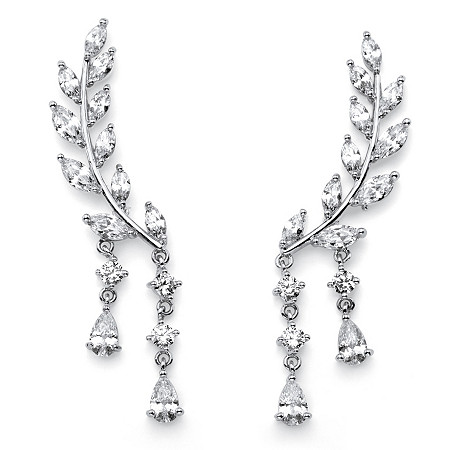 Marquise-Cut Crystal Ear Climber Earrings in Silvertone with Pear Drop Accent at PalmBeach Jewelry