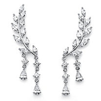 Marquise-Cut Crystal Ear Climber Earrings in Silvertone with Pear Drop Accent