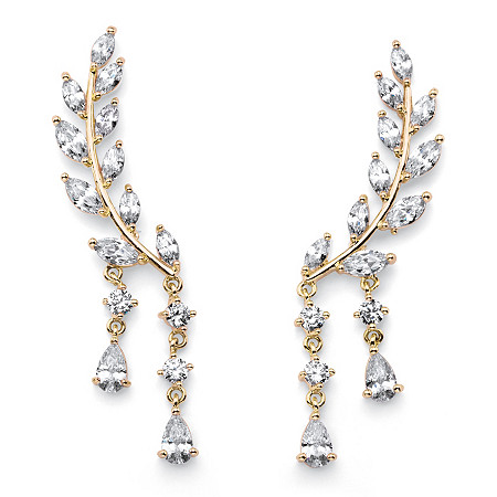 Marquise-Cut Crystal Ear Climber Earrings in Gold Tone with Round and Pear Drop Accents at PalmBeach Jewelry