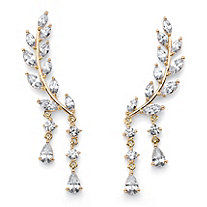 SETA JEWELRY Marquise-Cut Crystal Ear Climber Earrings in Gold Tone with Round and Pear Drop Accents