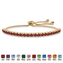 """Round Birthstone Crystal Drawstring Bracelet in 14k Gold-Plated with Bead Acents 9.25"""""""