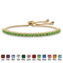 Round Birthstone Crystal Drawstring Bracelet in 14k Gold-Plated with Bead Acents 9.25""