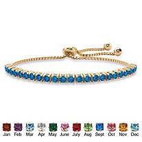 Round Birthstone Crystal Bolo Drawstring Bracelet in 14k Gold-Plated with Bead Acents 9.25""