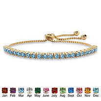 Round Simulated Birthstone Crystal Bolo Drawstring Bracelet in 14k Gold-Plated with Bead Acents 9.25""