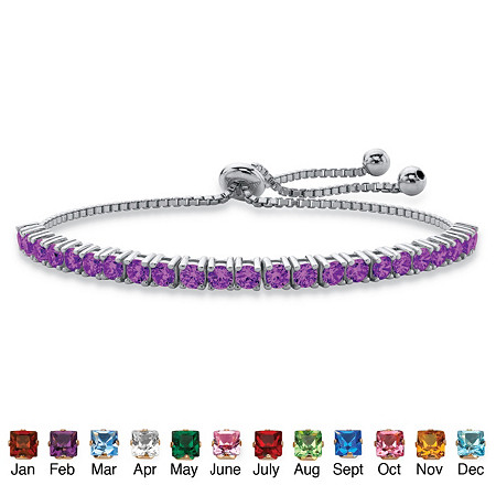 Round Birthstone Crystal Drawstring Bracelet in Silvertone with Bead Accents 9.25