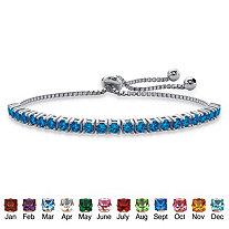SETA JEWELRY Round Birthstone Crystal Drawstring Bracelet in Silvertone with Bead Accents 9.25