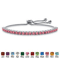 Round Birthstone Crystal Drawstring Bracelet in Silvertone with Bead Accents 9.25""