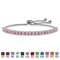 Round Simulated Birthstone Crystal Drawstring Bracelet in Silvertone with Bead Accents 9.25""