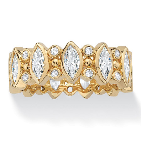 Marquise-Cut Cubic Zirconia Eternity Ring in 18k Yellow Gold with Round Accents 3.19 TCW at PalmBeach Jewelry