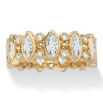 Marquise-Cut Cubic Zirconia Eternity Ring in 18k Yellow Gold with Round Accents 3.19 TCW