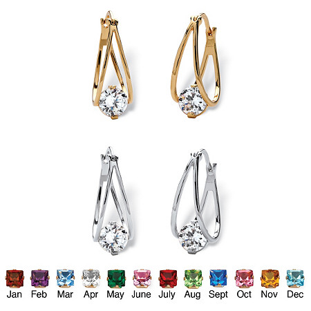 Round Birthstone Crystal Split-Hoop Earrings 2-Pair Set in Silvertone and Gold Tone 1/2