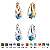 Round Simulated Birthstone Crystal Split-Hoop Earrings 2-Pair Set in Silvertone and Gold Tone 1/2""