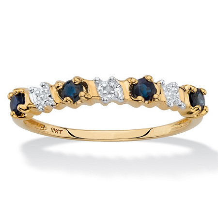 Genuine Blue Sapphire and Diamond Accent Ring in Solid 10k Yellow Gold .36 TCW at PalmBeach Jewelry