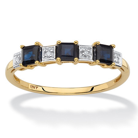 Genuine Blue Sapphire and Diamond Accent Princess-Cut Ring in Solid 10k Yellow Gold .75 TCW at PalmBeach Jewelry