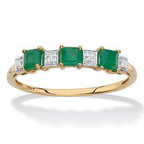 SETA JEWELRY Genuine Green Emerald and Diamond Accent Princess-Cut Ring in Solid 10k Yellow Gold .66 TCW
