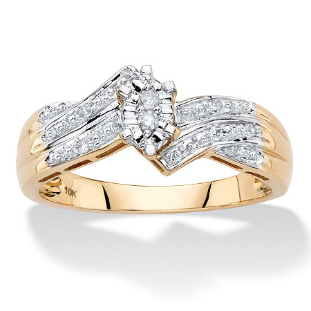 Marquise-Shaped Diamond Accent Bypass Engagement Ring in Solid 10k Yellow Gold at PalmBeach Jewelry