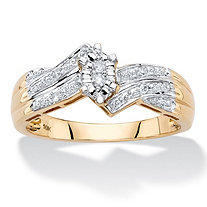 Marquise-Shaped Diamond Accent Bypass Engagement Ring in Solid 10k Yellow Gold