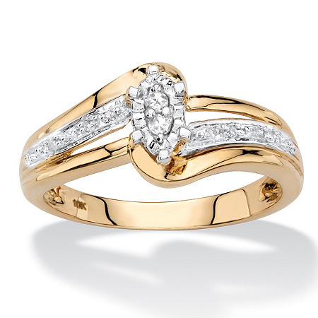 Marquise-Shaped Diamond Accent Engagement Ring in Solid 10k Yellow Gold at PalmBeach Jewelry
