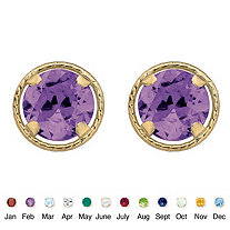 Genuine Birthstone Round Stud Earrings in 10k Yellow Gold 7.5 mm
