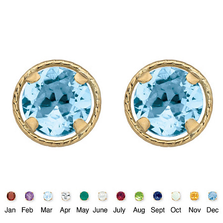 Genuine Birthstone Round Stud Earrings in 10k Yellow Gold 7.5 mm at PalmBeach Jewelry