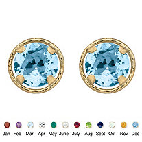 SETA JEWELRY Genuine Birthstone Round Stud Earrings in 10k Yellow Gold 7.5 mm