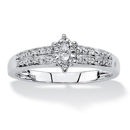 Diamond Accent Marquise-Shaped Engagement Ring in Platinum over Sterling Silver at PalmBeach Jewelry