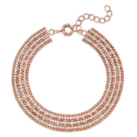 White Crystal Collar Multi-Row Necklace in Rose Gold-Plated with Lobster Clasp 11